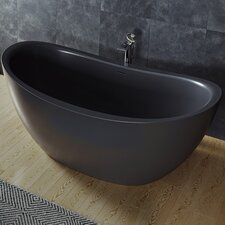 "Purescape 171 Solid Surface 72"" x 39.25"" Freestanding Soaking Bathtub"