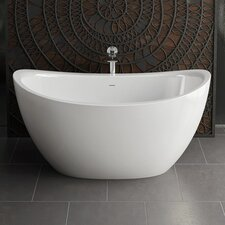 "Purescape 171 Solid Surface 63"" x 38.75"" Freestanding Soaking Bathtub"