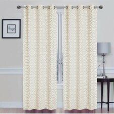 Capri Window Geometric Semi-Sheer Grommet Curtain Panels (Set of 2)