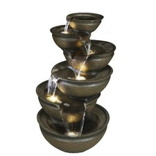 Balancing Bowl Water Cascade Resin Fountain with Light
