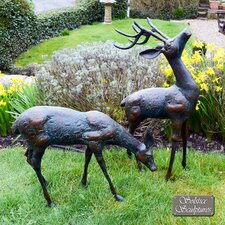 2 Piece Deer Aluminium Statue Set