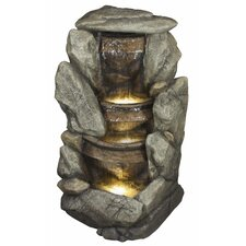 Polyresin Stone and Bowl Cascade Fountain with Light