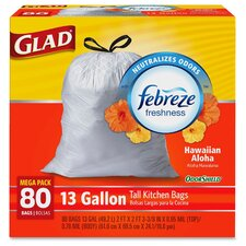 Glad OdorShield Aloha Scent 13-Gal. Trash Bags, 80 Count