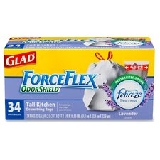 Glad ForceFlex OdorShield Tall Kitchen Drawstring 13-Gal. Trash Bags, 34 Count