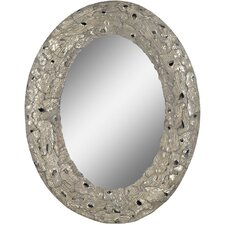 Aged Silver Metal Accent Wall Mirror