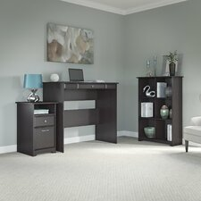 Hillsdale Standing Desk with 6-Cube Bookcase and 2 Drawer Pedestal