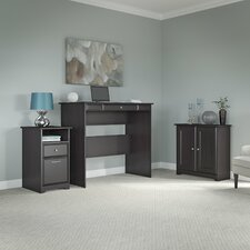 Hillsdale Standing Desk with Storage Cabinet and 2 Drawer Pedestal