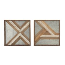 2 Piece Wood/Metal Wall Décor