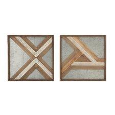 2 Piece Wood/Metal Wall Décor