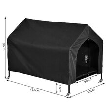 PawHut Dog House Pet Kennel Small Animals Shelter Elevated Portable Waterproof in 88L X 65W X 75H (cm), Black