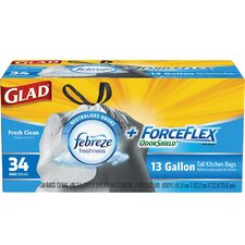 Glad ForceFlex Febreze Tall 13-Gal. Trash Bags, 34 Count
