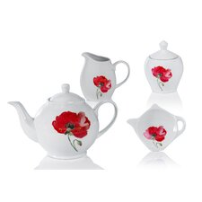 Poppy 4 Piece Porcelain China Tea Set