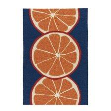 Smith Conversational Orange/Blue Indoor/Outdoor Area Rug