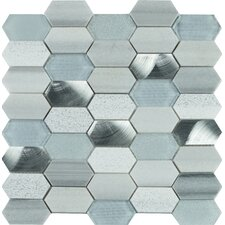 Harlow Picket Glass/Stone Mosaic Tile in Gray (Set of 10)