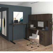 Embassy Electric Adjustable Height L-Shape Computer Desk with Hutch