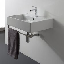 "Teorema 18"" Wall Mounted Bathroom Sink with Overflow"