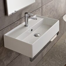 "Teorema 16"" Wall Mounted Bathroom Sink with Overflow"