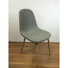 Upholstered Dining Chair with Oak Effect Printed Metal Legs