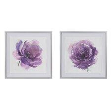 'Purple Ladies Rose' 2 Piece Framed Watercolor Painting Print Set on Paper