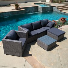 Wicker Rattan 6 Piece Sectional Seating Group with Cushion