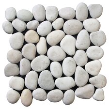 Classic Pebble Random Sized Natural Stone Pebble Tile in White
