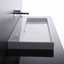 Ceramica I Urban Ceramic  Rectangular Vessel Bathroom Sink with Overflow