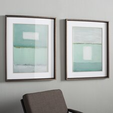 Azure Blue 2 Piece Framed Painting Print Set