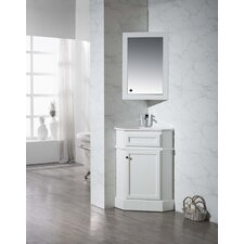 "Rocher 26.5"" Single Corner Bathroom Vanity Set with Mirror"