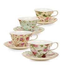 Ilian 8 oz. Porcelain Rose Chintz 4 Piece Tea Cup and Saucer Assorted Set