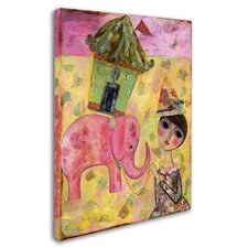 'Big Eyed Girl Pink Elephant Circus' Print on Wrapped Canvas