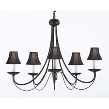 Faxon 5-Light Wrought Iron Base Candle-Style Chandelier