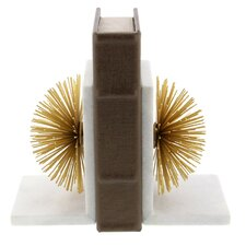 Aluminum/Marble Bookends (Set of 2)