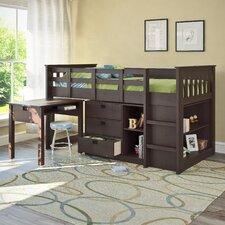 deion twin low loft bed with storage
