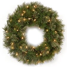 Green Wreath with 50 Clear Lights