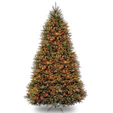 Fir 9' Hinged Green Artificial Christmas Tree with 900 LED Multicolored Lights