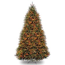 Fir 10' Hinged Green Artificial Christmas Tree with 1200 LED White/Multicolor Lights