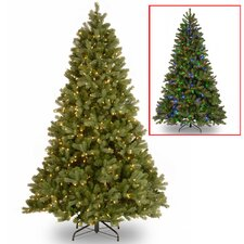 """Feel Real"" Down Swept 7.5' Hinged Green Fir Artificial Christmas Tree and 750 Dual LED with Stand"