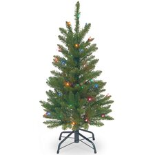 Pencil 3' Green Fir Artificial Christmas Tree with Multi-Colored Lights with Stand