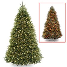 9' Green Fir Artificial Christmas Tree with LED 900 Colored and Multi Lights with Stand