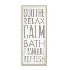 'Soothe Relax Calm Bath' Textual Art Wall Plaque