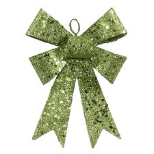 Iridescent Sequin and Glitter Bow Christmas Ornament