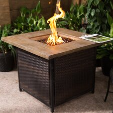 Rattan and Fibreglass Stone Gas Fire Pit