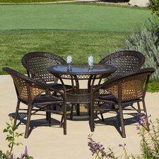 Assia 5 Piece Wicker Outdoor Dining Set