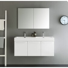 "Senza 48"" Vista Double Wall Mounted Modern Bathroom Vanity Set with Mirror"