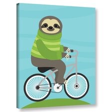 'Cycling Sloth'  Graphic Art Print On Wrapped Canvas
