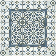 "Hydraulic 9.75"" x 9.75"" Porcelain Patterned/Field Tile in Gray/Blue"