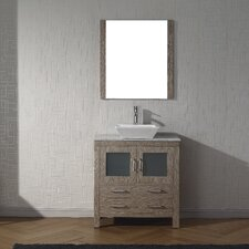 "Frausto 32"" Single Bathroom Vanity Set with White Marble Top and Mirror"