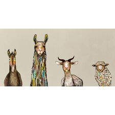 'Donkey, Llama, Goat, Sheep on Cream' Framed on Canvas