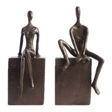 Man & Woman Sitting on a Block Bookends (Set of 2)