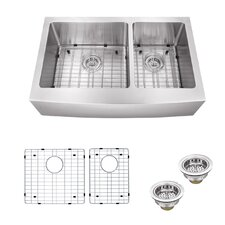 "35.875"" x 20.75"" Double Bowl Farmhouse/Apron Kitchen Sink"